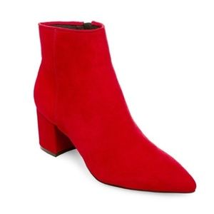 Steve Madden Brave Ankle Boot - Red Suede.